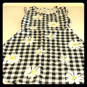 Daisy Print Plaid Summer Dress Size 4-5 Cute!